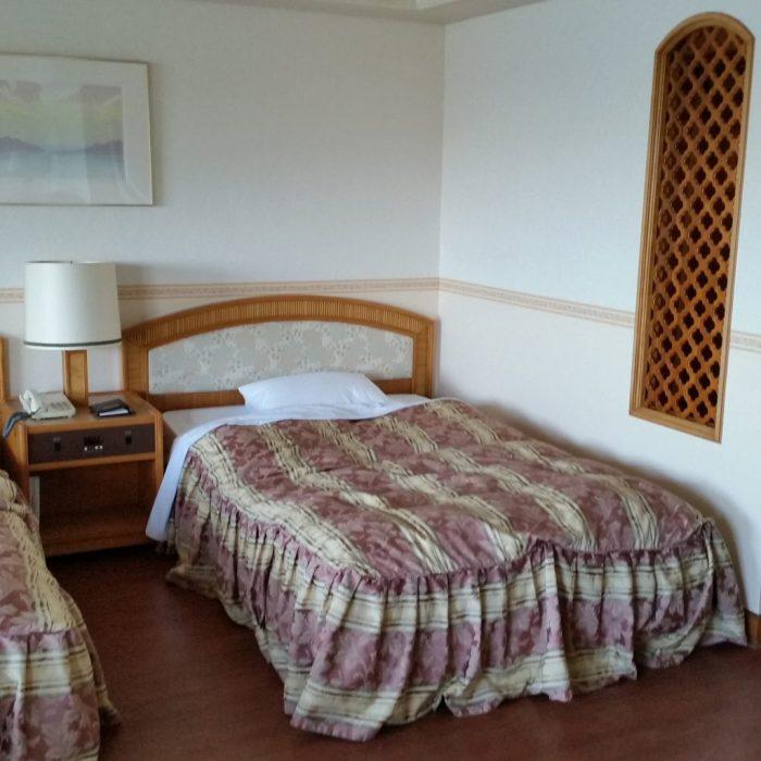 鳥羽わんわんパラダイスホテルの部屋のベッド