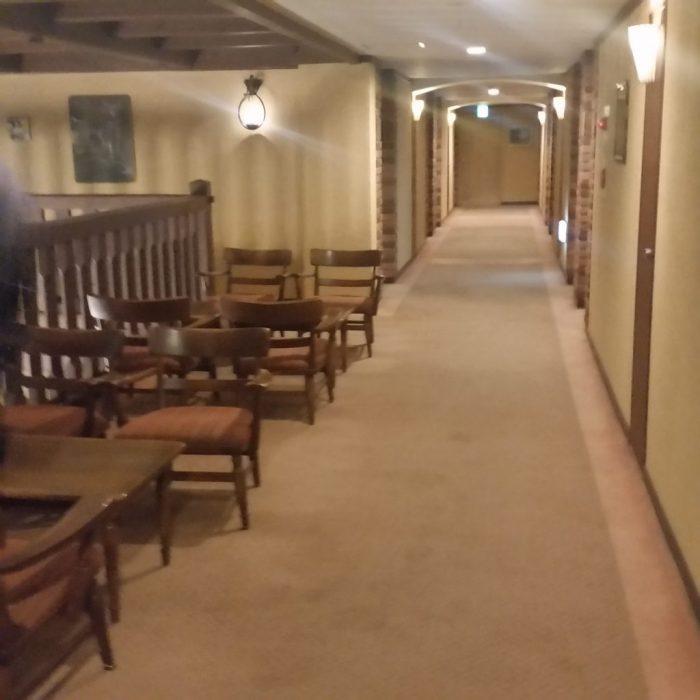 高山わんわんパラダイスホテルの二階の廊下