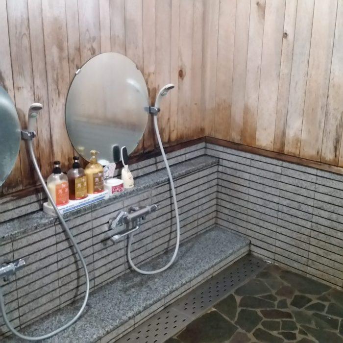 高山わんわんパラダイスホテルの露天風呂の洗い場