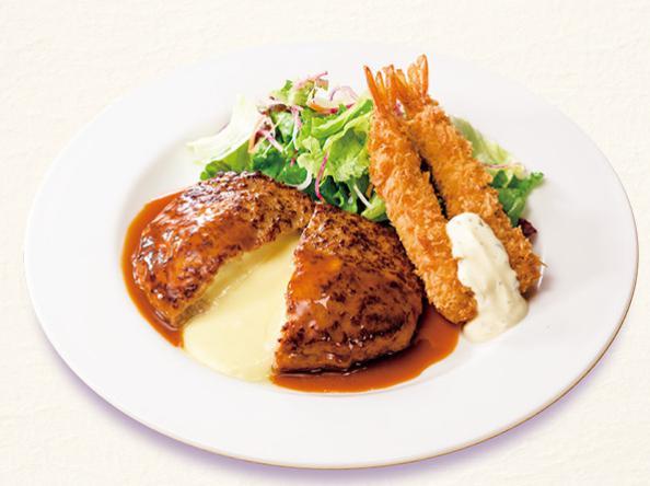 ガストのお食事人気メニューのチーズINハンバーグ&エビフライ